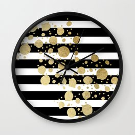 Faux Gold Paint Splatter on Black & White Stripes Wall Clock