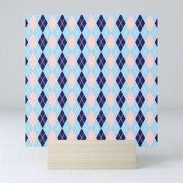 Schoolgirl Blue And Pink Argyle Mini Art Print