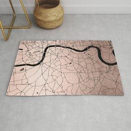 London Rosegold on Black Street Map Rug
