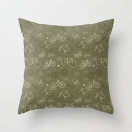 I love bikes in army green Throw Pillow