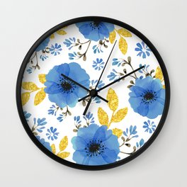 Blue flowers with golden leaves Wall Clock