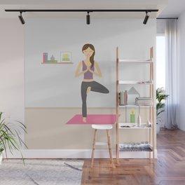 Yoga Girl In Tree Pose Cartoon Illustration Wall Mural