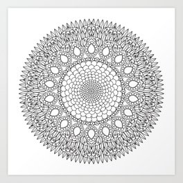 Bubbly Flower Mandala - Color Your Own  Art Print