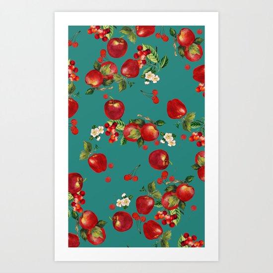 cherries and apples Art Print