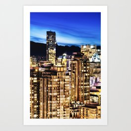 Twilight Vancouver and ShangriLa Hotel Art Print