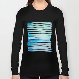 New Year Blue Water Lines Long Sleeve T-shirt