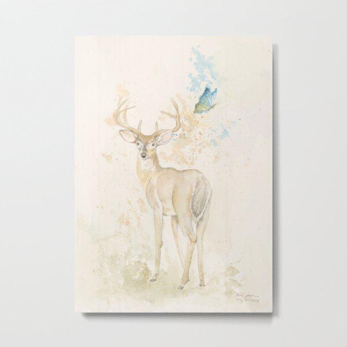 Deer and butterfly Metal Print