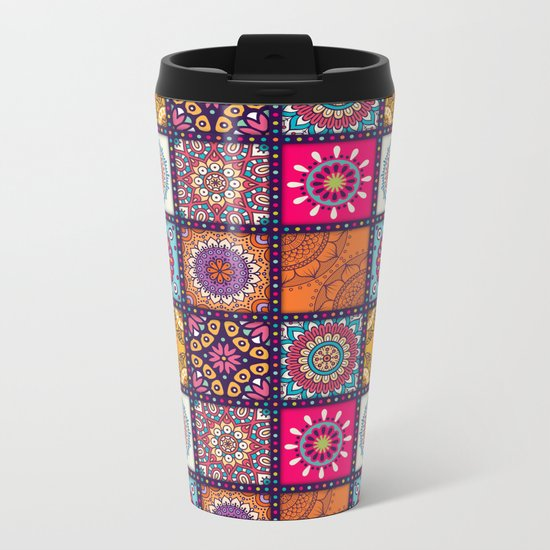 Pattern form Mandala Metal Travel Mug
