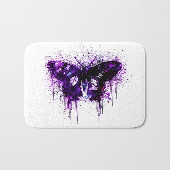 Crazy Butterfly artistic mixed media Bath Mat