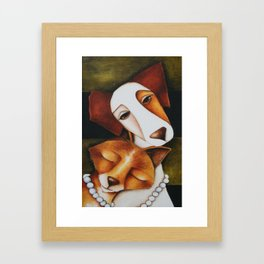 Fox and Jack Russell Terrier Unlikely Friends Framed Art Print