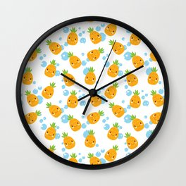 Funny Pineapples 3 Wall Clock
