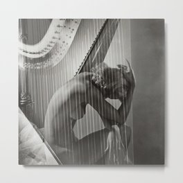 The Golden Harp, Blond female form black and white nude photograph / photography Metal Print