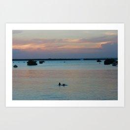 Childrens' evening swim  Art Print