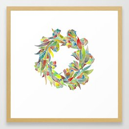 Colorful Floral Wreath Framed Art Print