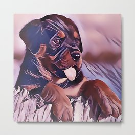 Rottweiler Puppy at the Beach Metal Print