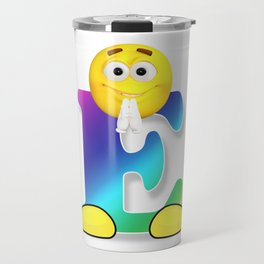 Letter E Alphabet Smiley Monogram Face Emoji Shirt for Men Women Kids Travel Mug