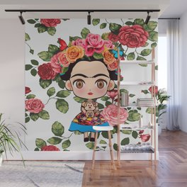 Frida cartoon roses Wall Mural