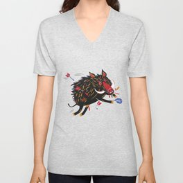 The wounded wild boar Unisex V-Neck