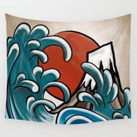 hokusai Wall Tapestries featuring Hokusai comic by Nxolab