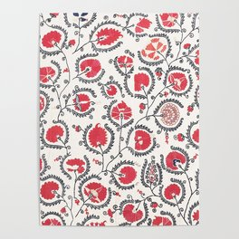 Wildflower II // 18th Century Positive Happy Colorful Red Green Botanical Garden Flowery Pattern Poster