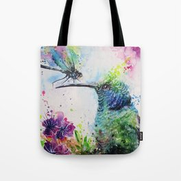 Hummingbird And Dragonfly Tote Bag
