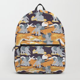 Baby African elephants joy night and day // yellow mustard Backpack