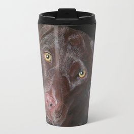 Inquisitive Chocolate Labrador Metal Travel Mug