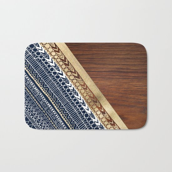 Navy & Gold Tribal on Wood Bath Mat