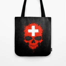 Flag of Switzerland on a Chaotic Splatter Skull Tote Bag