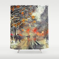 takmaj Shower Curtains featuring WINTER IN THE CITY by takmaj
