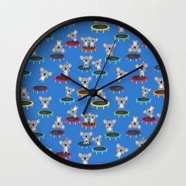 Koala Gymnasts On Trampolines Pattern Wall Clock