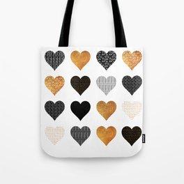Gold, black, white hearts Tote Bag