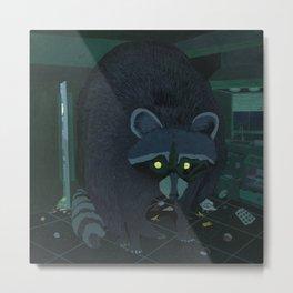 Radioactive Raccoon Metal Print