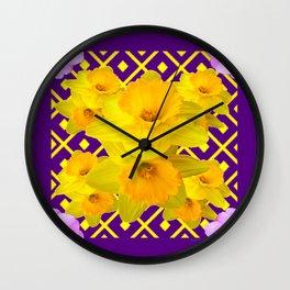 Wild Roses Gold Daffodil Purple Pattern Wall Clock