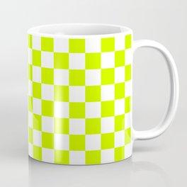 Small Checkered - White and Fluorescent Yellow Coffee Mug
