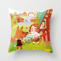 animal crossing Throw Pillows featuring Animal Crossing by Sama Ma