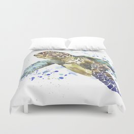Abstract Watercolor Sea Turtle on White 2 Minimalist Coastal Art - Coast - Sea - Beach - Shore Duvet Cover