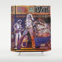 robert farkas Shower Curtains featuring Robert Plant by Ray Stephenson