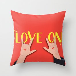 Love On Sign (I Love You) Language Hands - Red and Yellow Colorway Throw Pillow