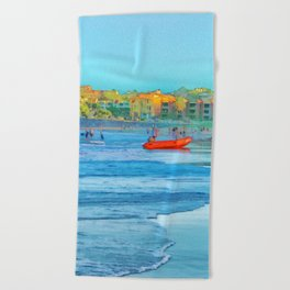 Abstract summer fun and surf rescue boat Beach Towel