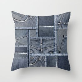 Blue Jeans Denim Patchwork Pattern Throw Pillow