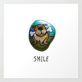 Smile Rock Cute Puppy with Bone Rock Painting by annmariescreations Art Print