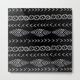 Mudcloth linocut design original black and white minimal inky texture pattern Metal Print