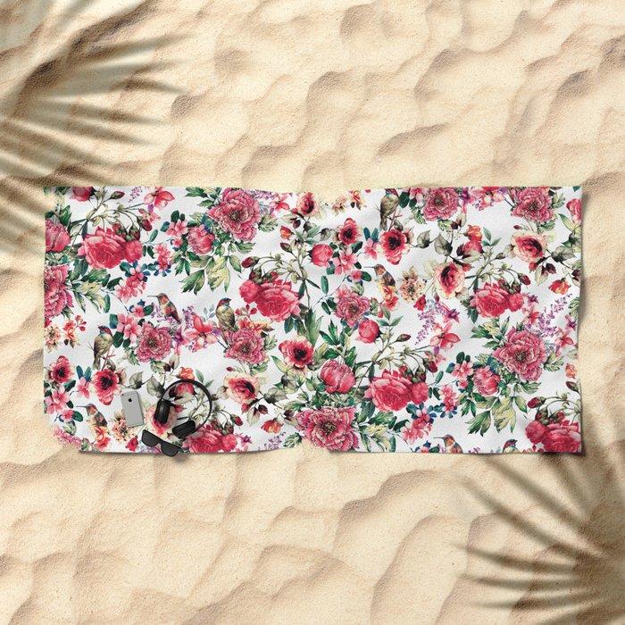 Flowers & Birds III Beach Towel