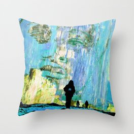 Castaneda and the kids - blue Throw Pillow