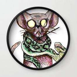 Creepy Cat and Snake Wall Clock
