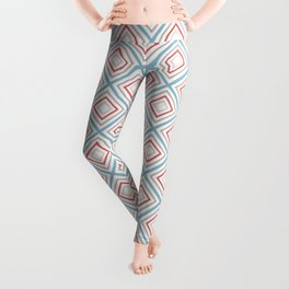 Minimalist Geometric Bitmap Pattern of Diamonds in Muted Red Blue Beige Leggings