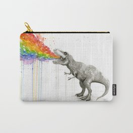 T-Rex Dinosaur Rainbow Puke Taste the Rainbow Watercolor Carry-All Pouch