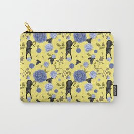 Greyhound Dog and Vintage Floral Pattern - Yellow Theme Carry-All Pouch