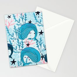 Whales pattern design Stationery Cards